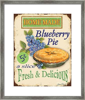 Vintage Blueberry Pie Sign Framed Print by Jean Plout