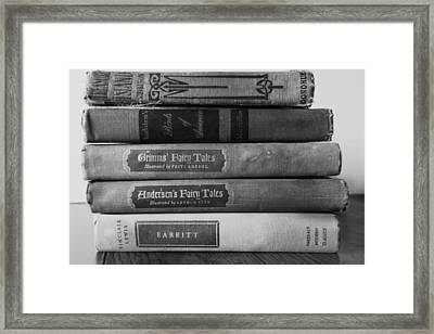 Vintage Book Stack  Framed Print by Ann Powell