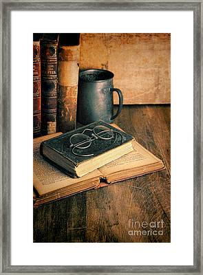 Vintage Books And Eyeglasses Framed Print by Jill Battaglia