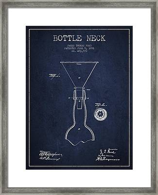 Vintage Bottle Neck Patent From 1891 Framed Print by Aged Pixel