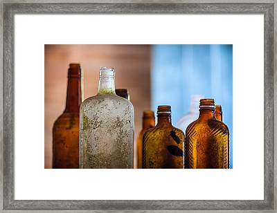 Vintage Bottles Framed Print by Adam Romanowicz