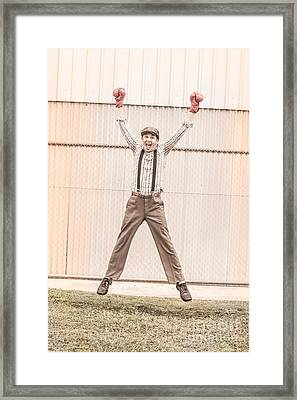 Vintage Boxer Doing Star Jumps  Framed Print by Jorgo Photography - Wall Art Gallery