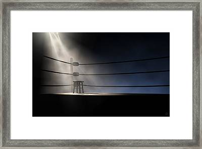 Vintage Boxing Corner And Stool Framed Print by Allan Swart