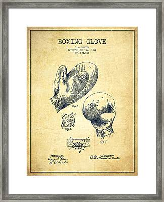 Vintage Boxing Glove Patent Drawing From 1894 - Vintage Framed Print by Aged Pixel