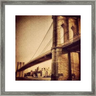 Vintage Brooklyn Bridge.  #brooklyn Framed Print