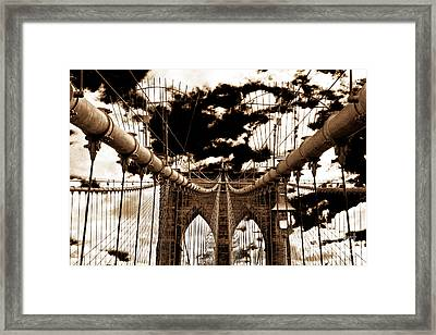 Vintage Brooklyn Bridge Framed Print by John Rizzuto