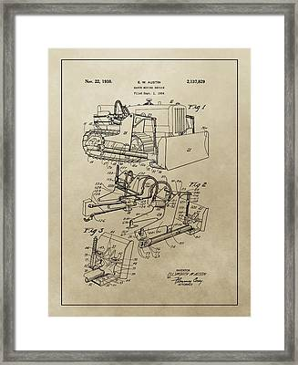 Vintage Bulldozer Patent Framed Print by Dan Sproul