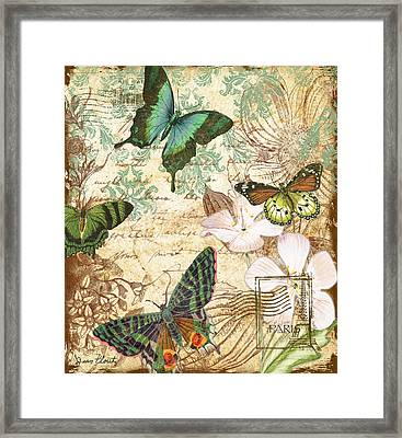 Vintage Butterfly Kisses  Framed Print by Jean Plout