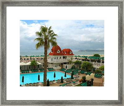 Framed Print featuring the photograph Vintage Cabana At The Del by Connie Fox