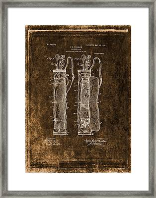 Vintage Caddy Bag Patent Drawing  - 1905 Framed Print by Maria Angelica Maira