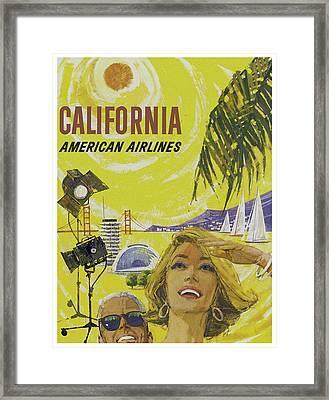 Vintage California Travel Poster Framed Print