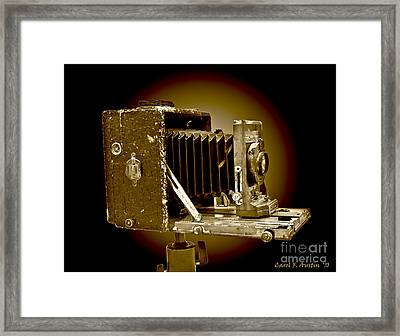 Vintage Camera In Sepia Tones Framed Print by Carol F Austin