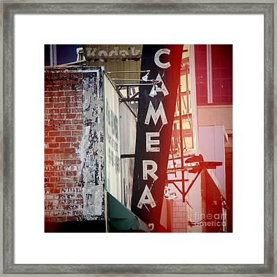 Vintage Camera Sign Framed Print by Nina Prommer