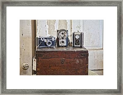 Vintage Cameras At Warehouse 54 Framed Print by Toni Hopper