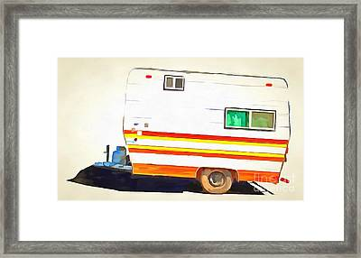 Vintage Camping Trailer Pop Framed Print by Edward Fielding
