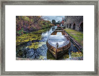 Vintage Canal Boat Framed Print by Adrian Evans