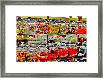 Vintage Candy Jars Framed Print