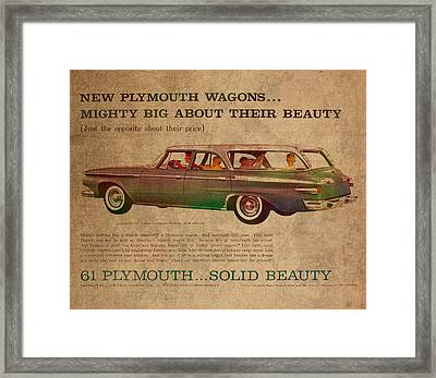 Vintage Car Advertisement 1961 Plymouth Wagon Ad Poster On Worn Faded Paper Framed Print