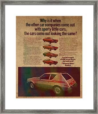 Vintage Car Advertisement American Motors Gremlin Ad Poster On Worn Faded Paper Framed Print by Design Turnpike