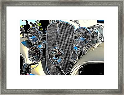 Vintage Car Art Buick Grill And Headlight Hdr Framed Print