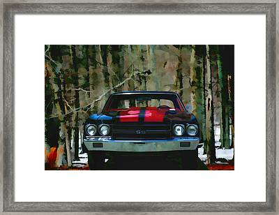 Vintage Car Art Chevy Chevelle Ss Watercolor Framed Print