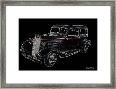 Vintage Car Art Ford Neon Outline Framed Print by Lesa Fine