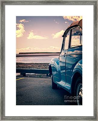 Vintage Car At The Beach  Framed Print by Edward Fielding