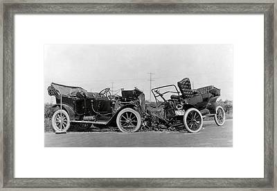 Vintage Car Crash 1914 Framed Print by Daniel Hagerman