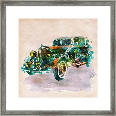 Vintage Car In Watercolor Framed Print by Marian Voicu