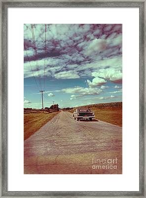 Vintage Car On Country Road Framed Print by Jill Battaglia