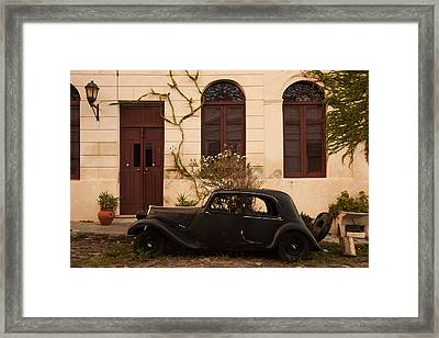 Vintage Car Parked In Front Of A House Framed Print