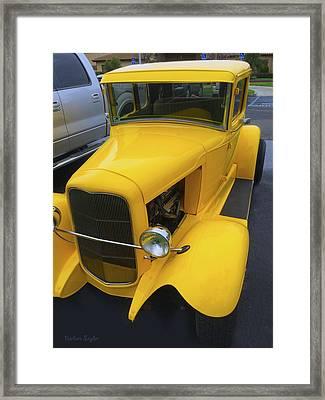Vintage Car Yellow Framed Print