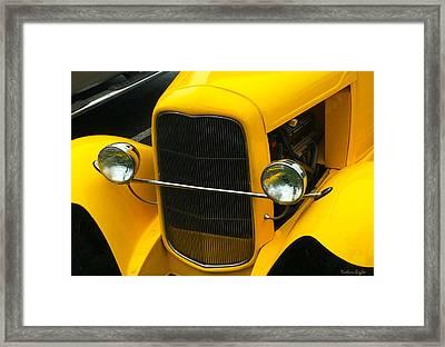 Vintage Car Yellow Detail Framed Print