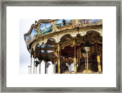 Vintage Carousel In Paris Framed Print