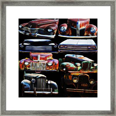 Vintage Cars Collage 2 Framed Print by Cathy Anderson