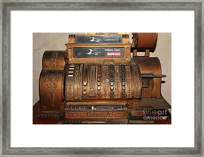 Vintage Cash Register In The Cellar Room At The Swiss Hotel In Sonoma California 5d24456 Framed Print by Wingsdomain Art and Photography