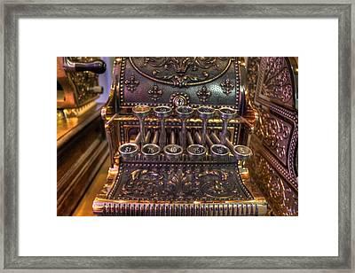 Vintage Cash Register Framed Print by Jane Linders