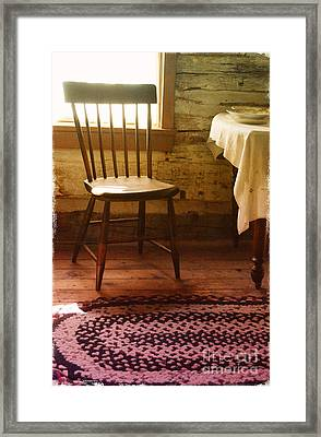Vintage Chair And Table Framed Print