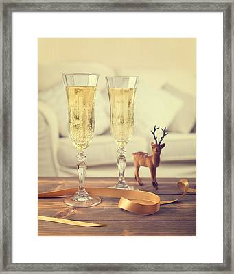 Vintage Champagne Framed Print by Amanda Elwell