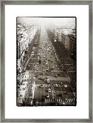 Vintage Champs Elysees Framed Print by John Rizzuto