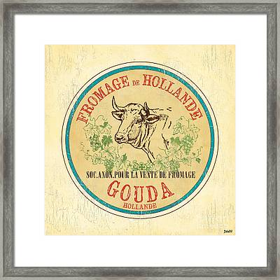 Vintage Cheese Label 1 Framed Print by Debbie DeWitt