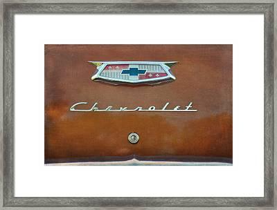 Vintage Chevrolet Emblem On Trunk Framed Print
