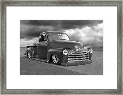 Vintage Chevy 1949 Black And White Framed Print by Gill Billington