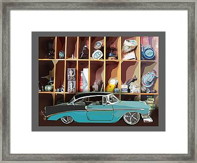 Vintage Chevy Belair With Retro Auto Parts Framed Print