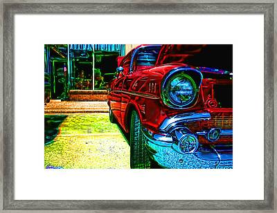 Vintage Chevy Car Art Alley Cat Red Framed Print