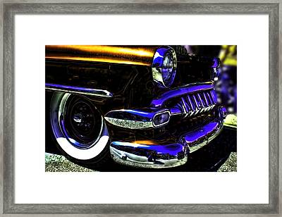 Vintage Chevy Grill  Toothy Chrome Copper Framed Print by Lesa Fine