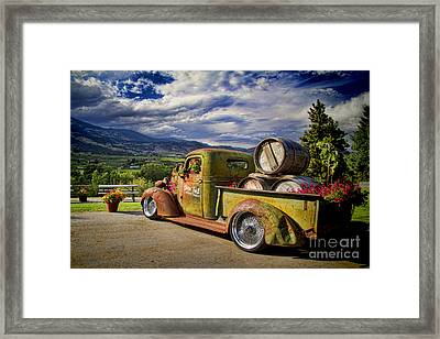 Vintage Chevy Truck At Oliver Twist Winery Framed Print