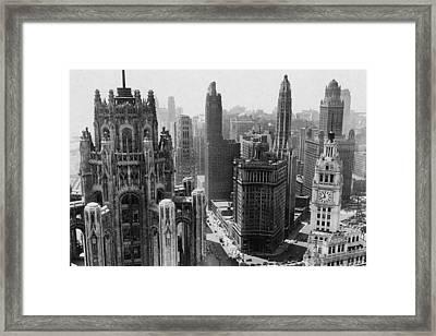 Vintage Chicago Skyline Framed Print
