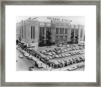 Vintage Chicago Stadium Print - Historical Blackhawks Black  White Framed Print