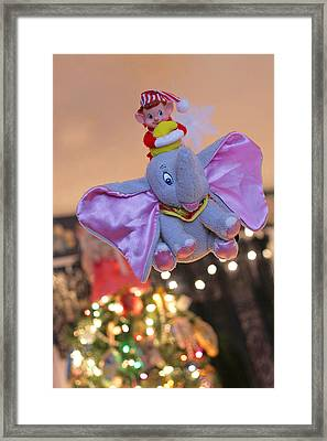 Vintage Christmas Elf Flying With Dumbo Framed Print